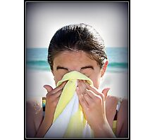 Girl with Beach Towel Photographic Print