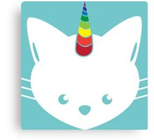 Unicorn Cat with Rainbow Horn Canvas Print