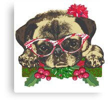Cute pug in glasses Canvas Print