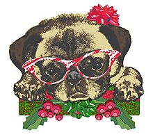 Cute pug in glasses Photographic Print