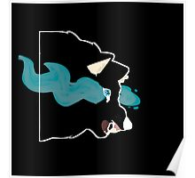 Black Blue Flame Wolf Poster