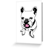 french bulldog licking his lips Greeting Card