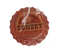 Sunset Sarsaparilla Bottle Cap Photographic Print