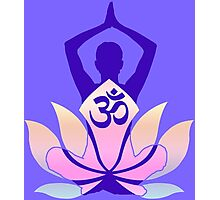 OM Namaste Yoga Pose Lotus Flower Photographic Print
