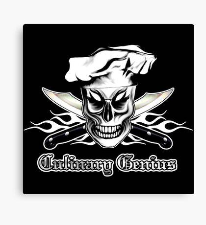 Chef Skull 4: Culinary Genius 3 white flames Canvas Print