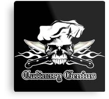 Chef Skull 13: Culinary Genius 3 white flames Metal Print