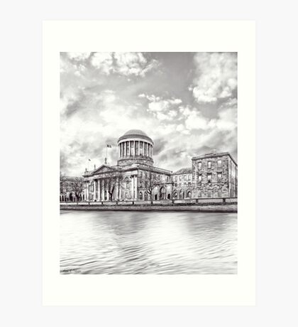 Neoclassical Four Courts Building On The Liffey in Dublin Ireland Art Print