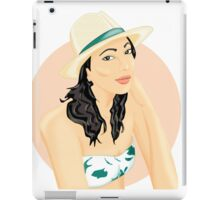 summer girl with hat iPad Case/Skin