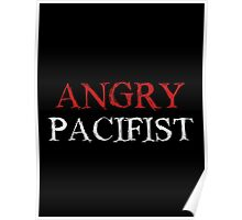 Angry Pacifist - Red And White Ink Poster