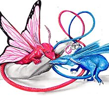 Pink and Blue dragons- Romeo and Juliette by sandra chapdelaine