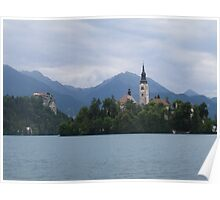 Lake Bled - Church of Assumption and Castle.  Poster