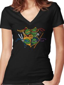 TMNT at Hogwarts Women's Fitted V-Neck T-Shirt