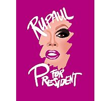 RuPaul for President- White Text Photographic Print