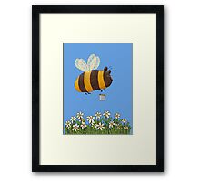 Bumble Bear with honey flies home Framed Print