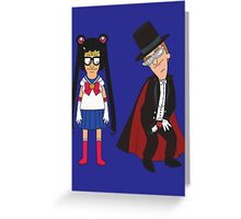 Tina Moon and Buttedo Mask Greeting Card