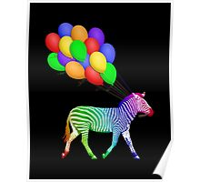 Rainbow Party Zebra - Now with Balloons! Poster