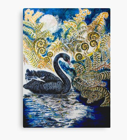 Black Swan & Tree Ferns. Canvas Print
