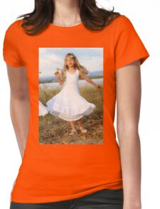 Young girl of six, in white dress and a wreath Womens Fitted T-Shirt