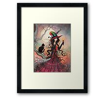 October Flame Witch Cat Halloween Fantasy Art Framed Print