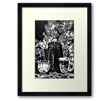 Morning Coffee Before Decorating Christmas Tree Framed Print