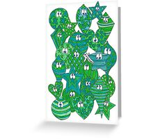 Baubles Green Blue Greeting Card