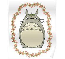 Totoro w/ Flower Frame Poster