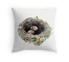 Pink robin's nest Throw Pillow
