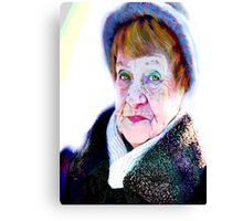Her funny hazel eyes and funny blue hat... Canvas Print