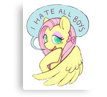 Fluttershy (I HATE ALL BOYS) Canvas Print