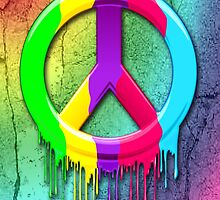 Peace Symbol Dripping Rainbow Paint by BluedarkArt
