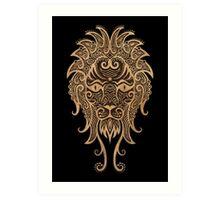 Rustic Leo Zodiac Sign on Black Art Print