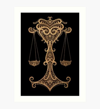 Rustic Libra Zodiac Sign on Black Art Print