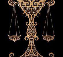 Rustic Libra Zodiac Sign on Black by Jeff Bartels