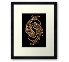 Rustic Pisces Zodiac Sign on Black Framed Print