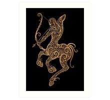Rustic Sagittarius Zodiac Sign on Black Art Print