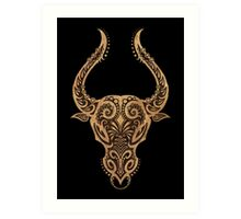 Rustic Taurus Zodiac Sign on Black Art Print