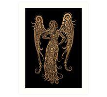 Rustic Virgo Zodiac Sign on Black Art Print