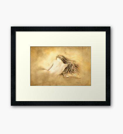 Raw Umber Nude by David Evans  Framed Print