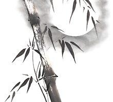 Moon blade bamboo sumi-e painting  by Maryna Sokolyan