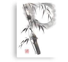 Moon blade bamboo sumi-e painting  Metal Print