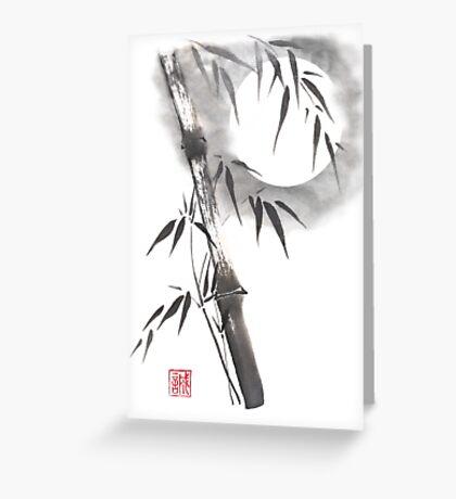 Moon blade bamboo sumi-e painting  Greeting Card