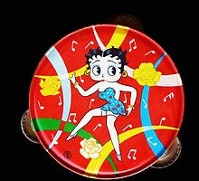 Vintage Betty Boop Tambourine (on black) by MHen