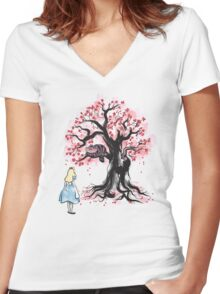 The Cheshire's Tree sumi-e Women's Fitted V-Neck T-Shirt