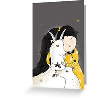 Capricia with goat Greeting Card