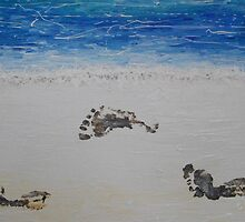 Beach Foot Prints by Julie  Sutherland