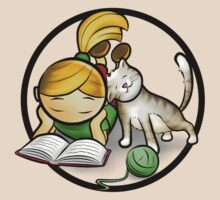 Girl & cute Kitten cartoony by ArtNouveau