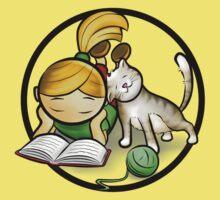 Girl & cute Kitten cartoony Kids Clothes