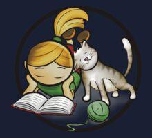 Girl & cute Kitten cartoony Kids Tee