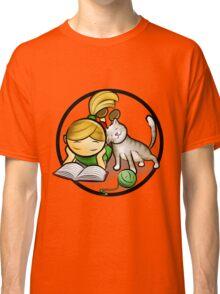 Girl & cute Kitten cartoony Classic T-Shirt