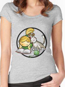 Girl & cute Kitten cartoony Women's Fitted Scoop T-Shirt